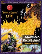 Worlde of Legends™ ADVENTURER SHEET: LITE Fillable PDF - Weapons Mastery