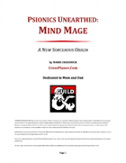 Psionics Unearthed: Mind Mage (A Sorcerous Origin for 5E)