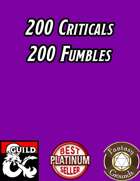 200 Critical HIT & FUMBLE Tables