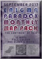 Enigma Paradox Monthly Map Pack: Continent of Veik (Gray printer friendly)