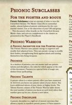 Psionic Subclasses