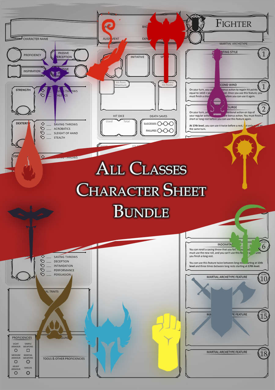 Class Character Sheets - The Bundle