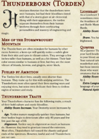 NEW Race: Thunderborn (Torden)