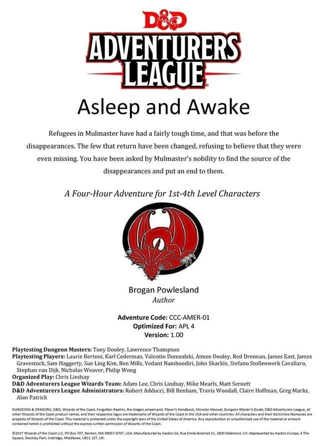 Cover of CCC-AMER-01 Asleep and Awake