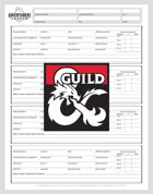 Adventurers League Season 8 Form Fill Log Sheet