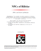 NPCs of Hillsfar (Fresno CCC)