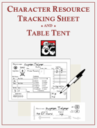 Character Resource Tracking Sheet and Table Tent