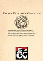 Faerȗn Printable Calendar