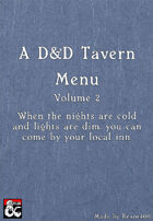 A D&D Tavern Menu - A Poor Man's Menu- Volume 2