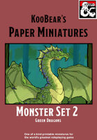 Monster Set 2 Green Dragon - KooBear's Paper Miniatures