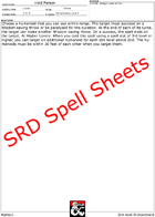 Warlock SRD Spell Power Sheets - Make your own Spellbook