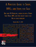 A Punsters Guide to Shops, NPCs, and Items for Sale