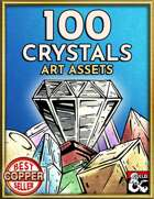 100 Crystals & Gems Art Pack - Hand Drawn Style