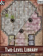 Elven Tower - Two-Story Library | 24x32 / 24x34 Stock Battlemap