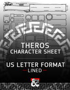 Mythic Odysseys of Theros 5e - Fillable Character Sheet (US Letter - Lined)