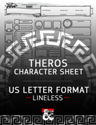 Mythic Odysseys of Theros 5e - Fillable Character Sheet (US Letter - Lineless)