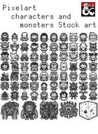 Pixelart characters and monsters Stock art