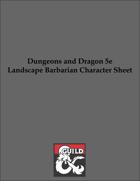 D&D 5e Landscape Barbarian Character Sheet