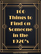 100 Things to Find on Someone in the 1920s