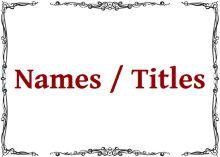 Names/Titles