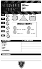 SURVIVE THIS!! - Zombies!  Character Sheet - FREE