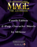MrGone's Mage The Ascension Fourth Edition 2-Page Character Sheets