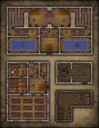 VTT Map Set - #068 Bath House, Library, Well Shed & Cellar