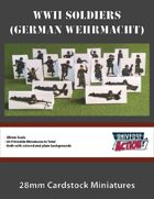 WWII Soldiers (German Wehrmacht) 28mm Cardstock Miniatures