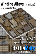 "Winding Alleys Interiors 24"" x 24"" RPG Encounter Map"