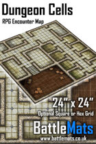"Dungeon Cells 24"" x 24"" RPG Encounter Map"