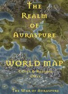 The Realm of Auraspure | World Map (Cities & Regions Only) - The War of Auraspure