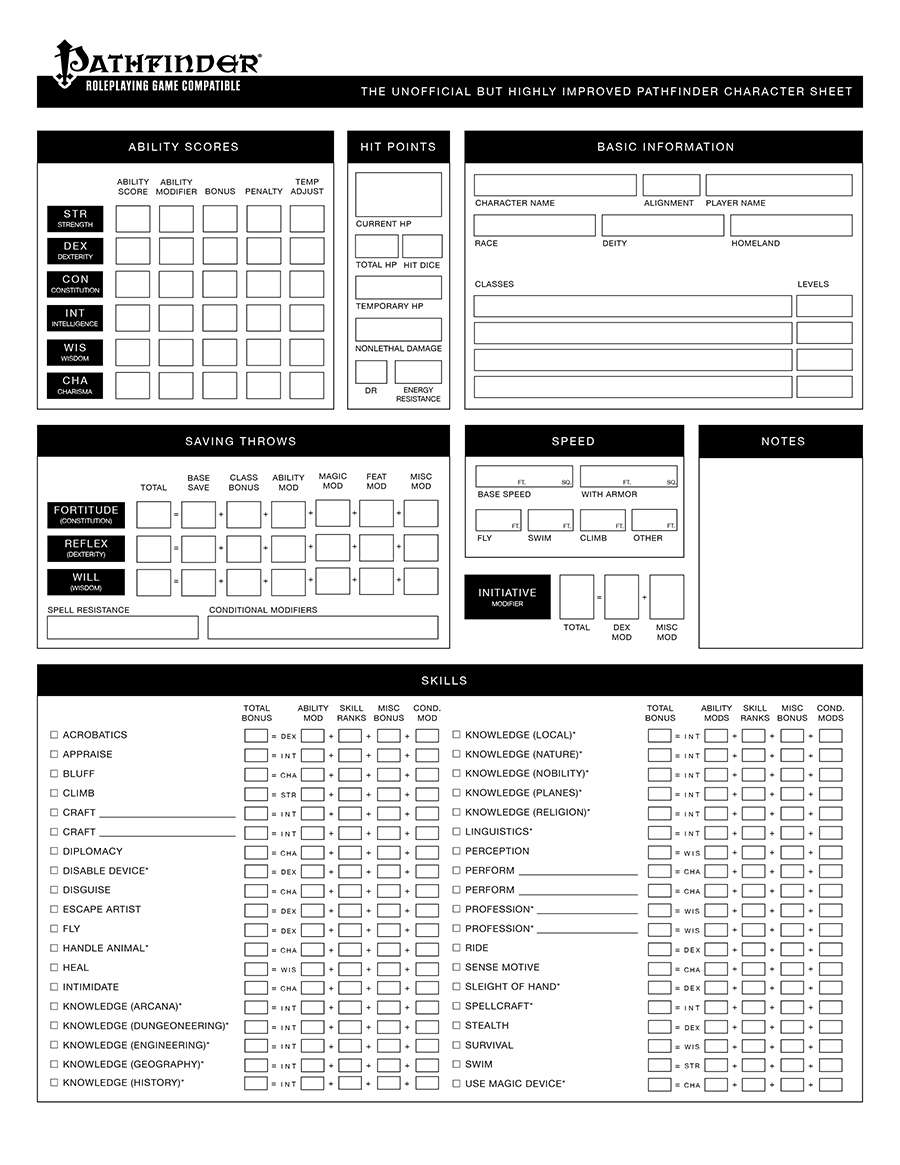 photograph regarding Pathfinder Character Sheet Printable identified as Watermarked PDF