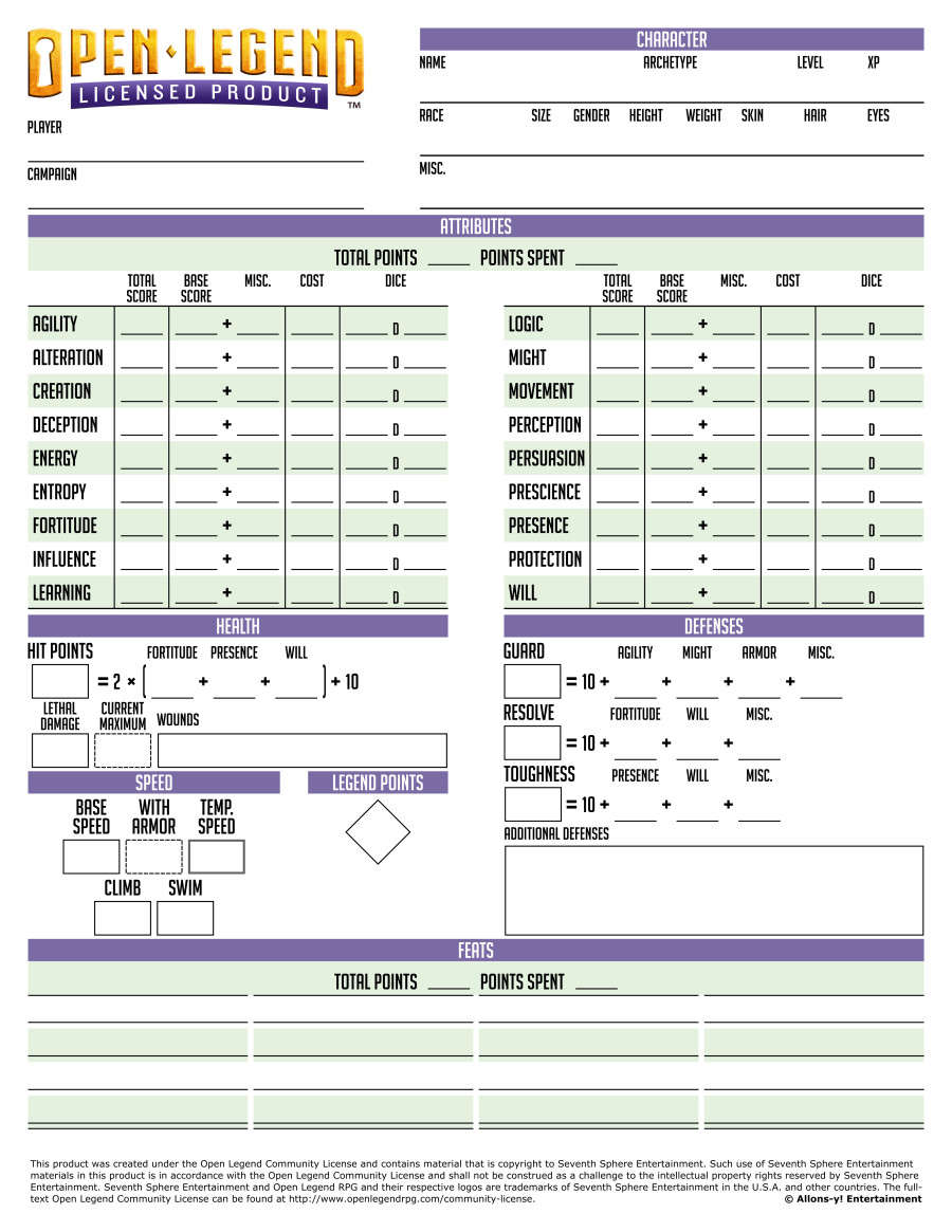 graphic regarding Pathfinder Character Sheet Printable called Open up Legend Printable Persona Sheet - Allons-y