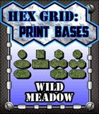 Hex Grid: Print Bases- Wild Meadow
