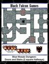 Blue Mosaic Dungeon: Doors and Stairs (2 square Hallways)