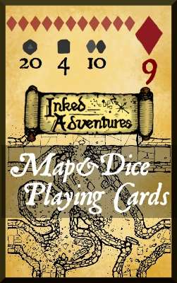 Inked Adventures Map and Dice Playing Cards