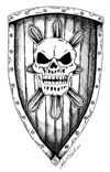 Stock Art Shields: Grinning Skull