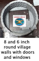 8 and 6 inch round village walls