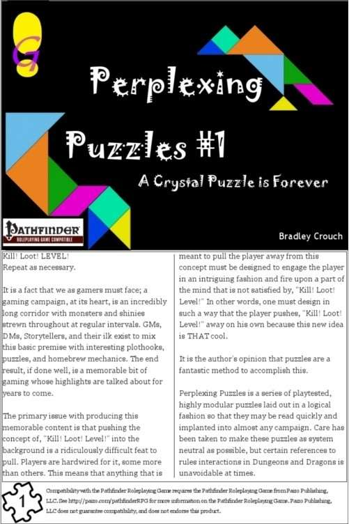 Perplexing Puzzles #1: A Crystal Puzzle is Forever on RPGNow.com