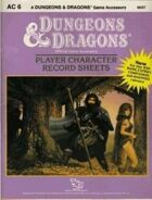 AC6 D&D Player Character Record Sheets