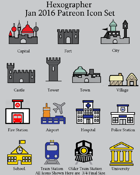 Hexographer January 2016 Monthly World Map Icons (Any Editor)