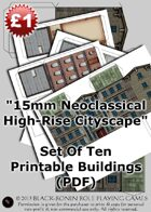15mm-18mm Scale Neoclassical Highrise Buildings - Set Of Ten (PDF)