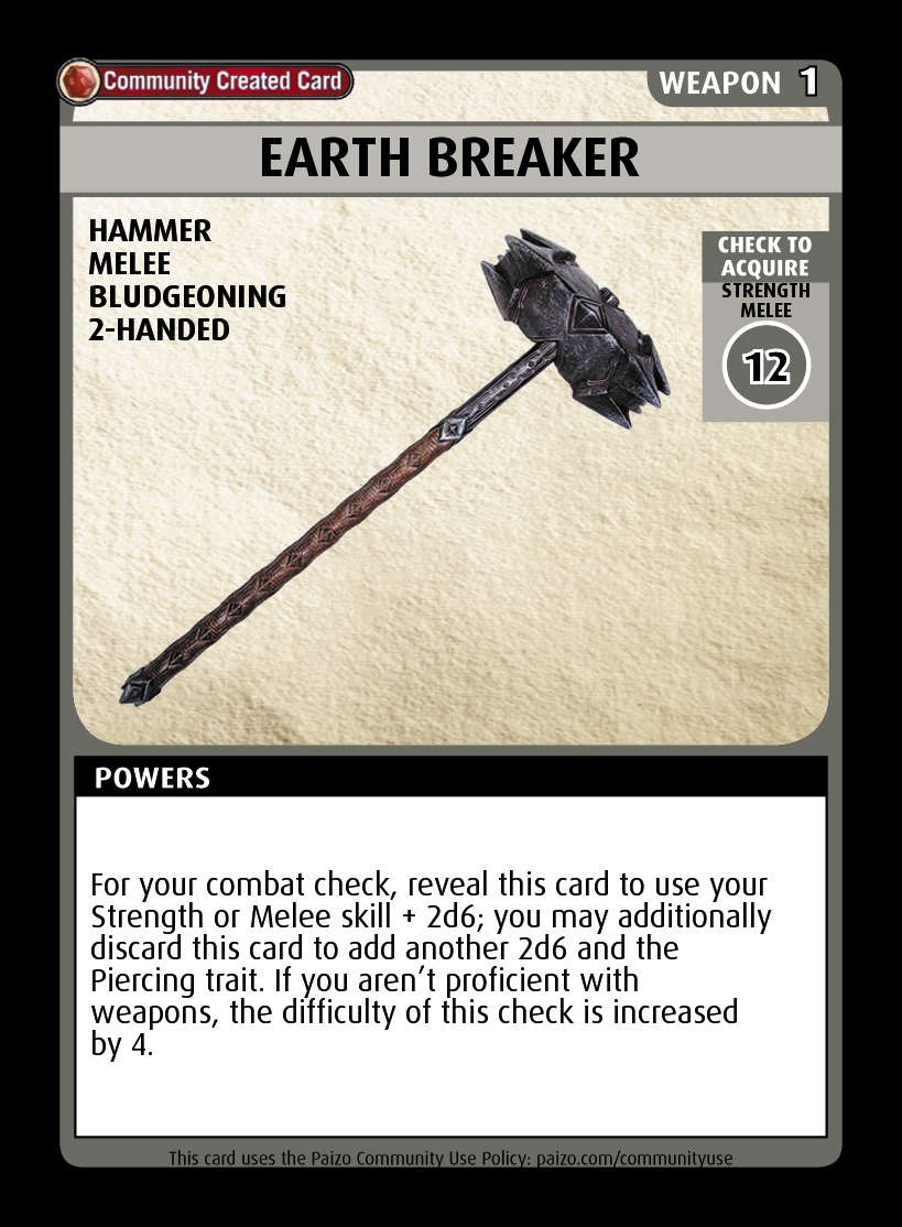 Earth Breaker - Custom Card - Paizo | Pathfinder Adventure ...