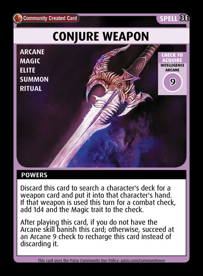 Summon Weapon - Custom Card - Paizo | Pathfinder Adventure