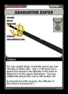 Adamantine Rapier +1 - Custom Card
