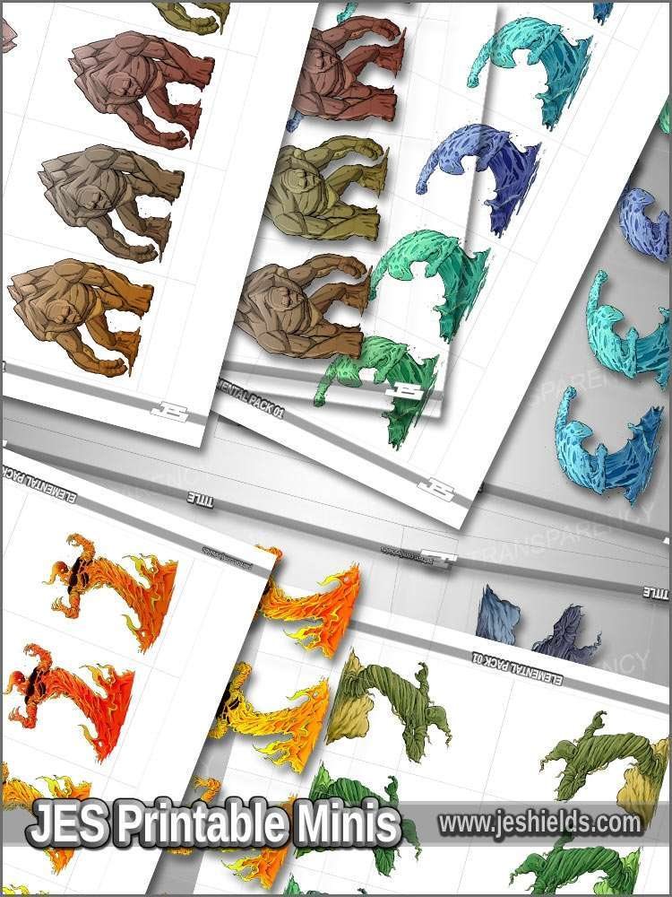 graphic about Printable Miniatures identified as Printable Minis - Myth - Elemental Clics - PM - Jeshields Printable Miniatures