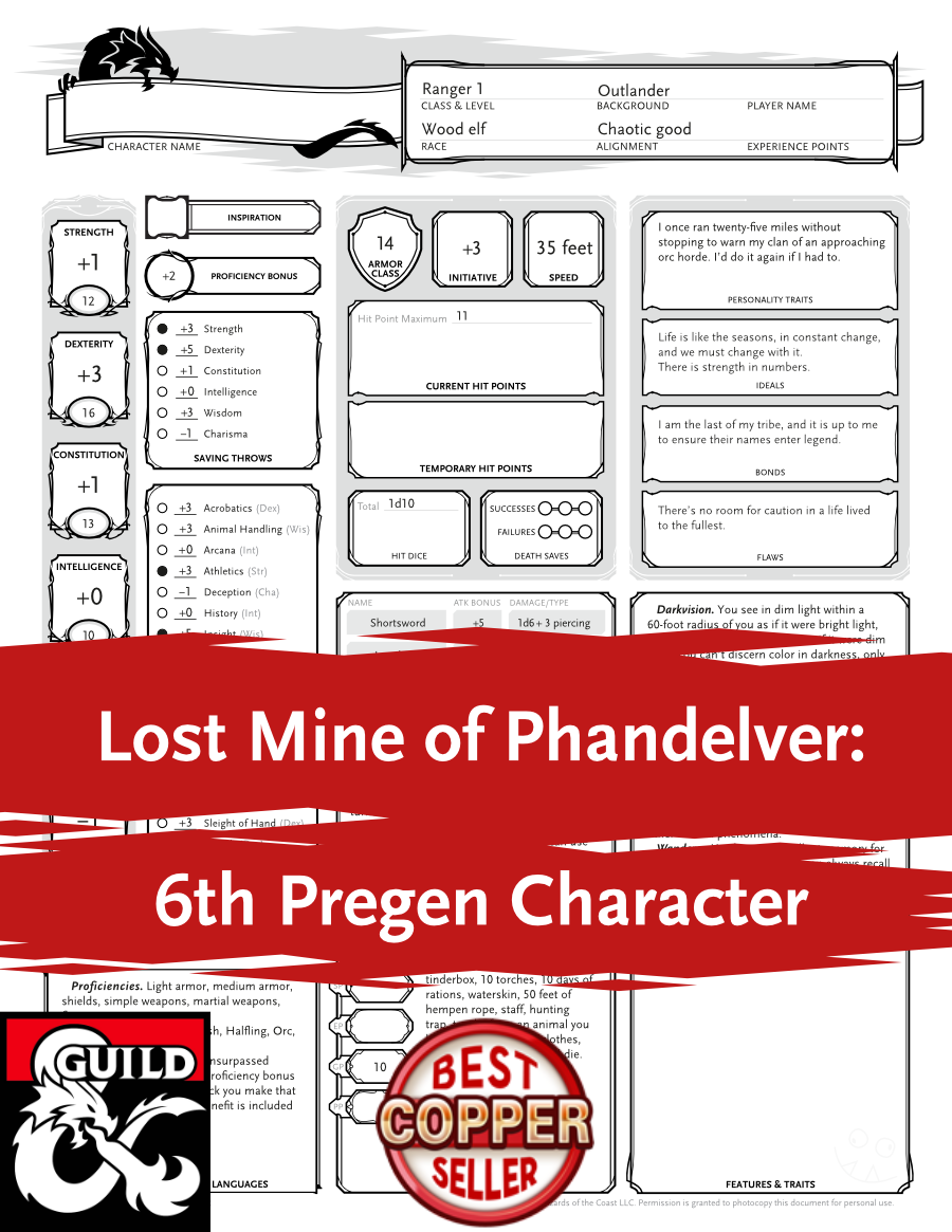 Lost Mine of Phandelver: 6th Pregen Character - Dungeon