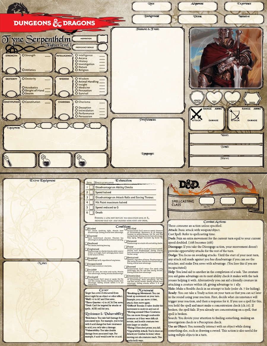 Juicy image throughout d&d 5e printable character sheet