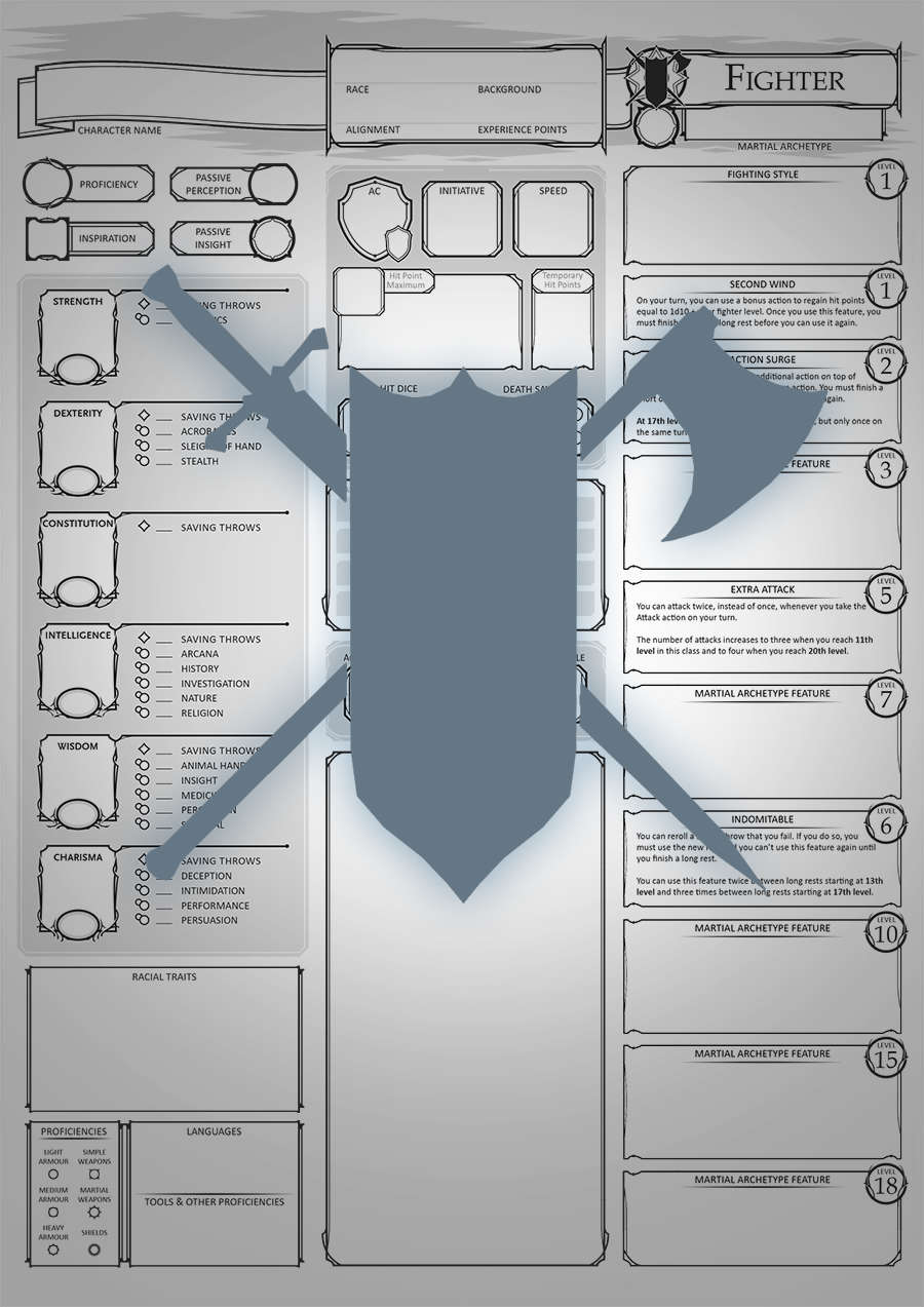 Class Character Sheets - The Fighter - Dungeon Masters Guild | Dungeon  Masters Guild