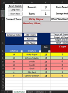 Combat Tracker For Excel